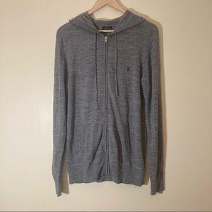 All Saints 100% merino wool grey hoodie sweater